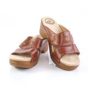 Dansko Brown Leather Stitched Platform Sandals